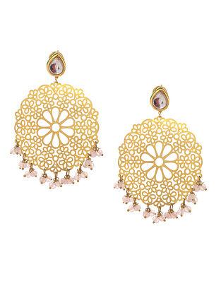Pink Gold Tone Kundan Inspired Filigree Earrings
