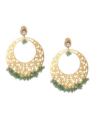 Turquoise Gold Tone Kundan Inspired Filigree Earrings