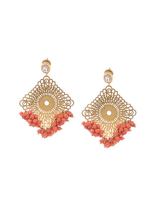 Coral Gold Tone Kundan Inspired Filigree Earrings