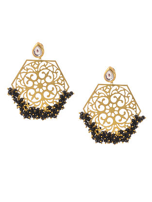 Black Gold Tone Kundan Inspired Filigree Earrings