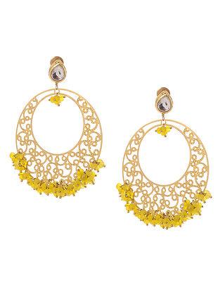 Yellow Gold Tone Kundan Inspired Filigree Earrings