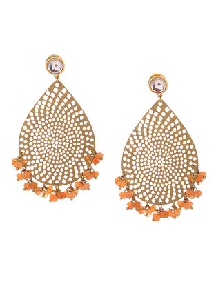 Orange Gold Tone Kundan Inspired Filigree Earrings