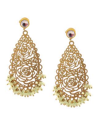 Mint Green Gold Tone Kundan Inspired Filigree Earrings