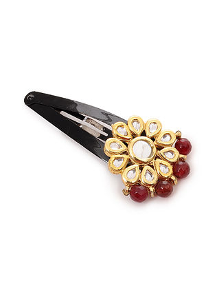 Red Gold Tone Kundan Inspire Hair Pin