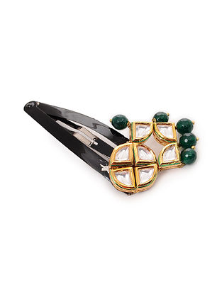 Green Gold Tone Kundan Inspire Hair Pin