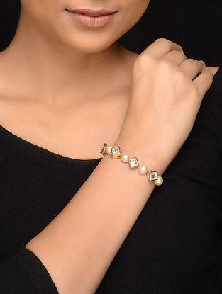 White Gold Tone Kundan Inspired Pearl Bracelet