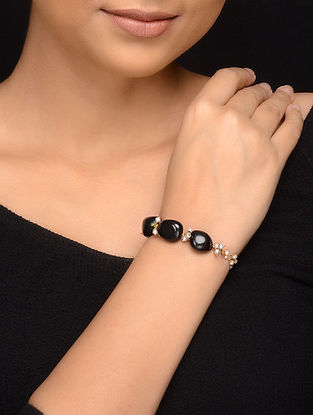 Black Gold Tone Onyx and Pearl Bracelet