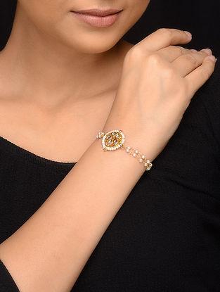 Classic Gold Tone Kundan Inspired Pearl Bracelet