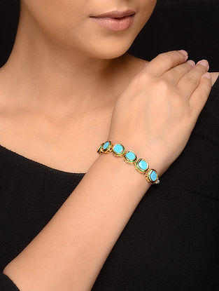 Turquoise Gold Tone Pearls Bracelet