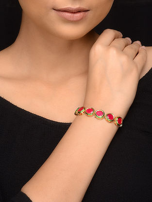 Red Gold Tone Pearls Bracelet