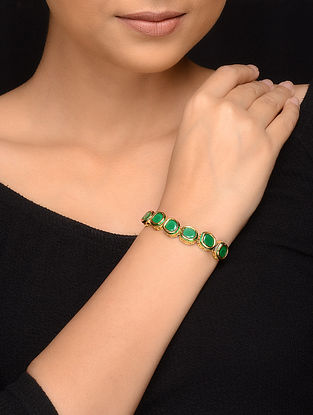 Green Gold Tone Pearls Bracelet