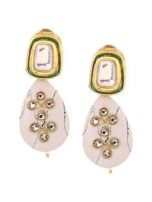 White Gold Tone Kundan Inspired Stone Earrings