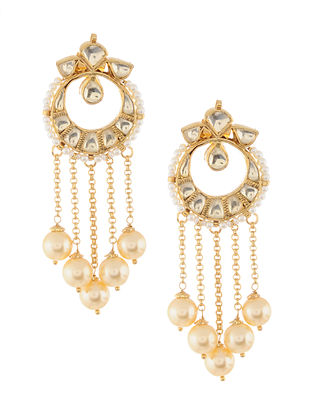 Gold Tone Kundan Inspired Pearl Beaded Earrings