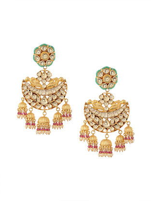 Pink-Green Gold Tone Kundan Inspired Chandbali Earrings