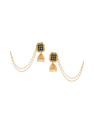 Green Gold Tone Kundan Inspired Jhumkis