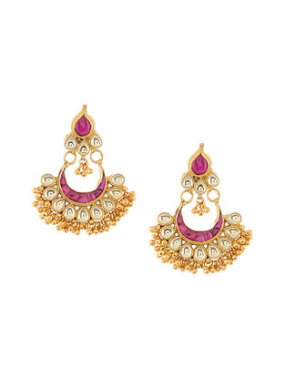 Pink Gold Tone Kundan Inspired Earrings