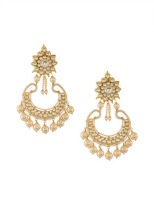 Gold Tone Kundan Inspired Pearl Beaded Chaandbali Earrings