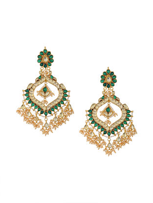 Green Gold Tone Kundan Inspired Pearl Beaded Chaandbali Earrings