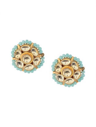 Turquoise Gold Tone Kundan Inspired Stud Earrings
