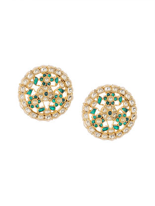 Green Gold Tone Kundan Inspired Stud Earrings
