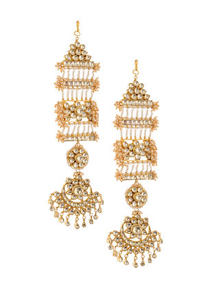 Gold Tone Kundan Inspired Chaandbali Earrings
