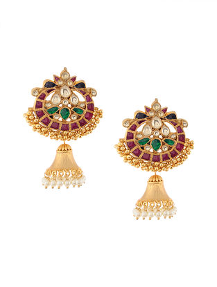 Multicolored Gold Tone Kundan Inspired Chaandbali Jhumkis