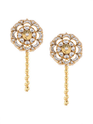 Gold Tone Kundan Inspired Stud Earrings