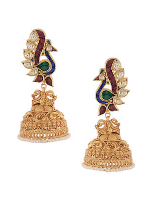 Multicolored Gold Tone Kundan Inspired Stud Jhumkis