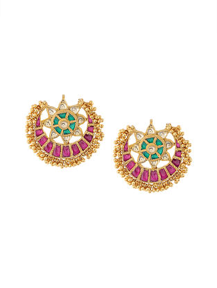 Green-Pink Gold Tone Kundan Inspired Earrings