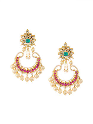 Green-Pink Gold Tone Kundan Inspired Chaandbali Earrings