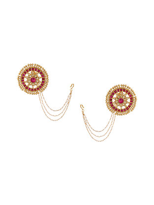 Red Gold Tone Kundan Inspired Stud Earrings