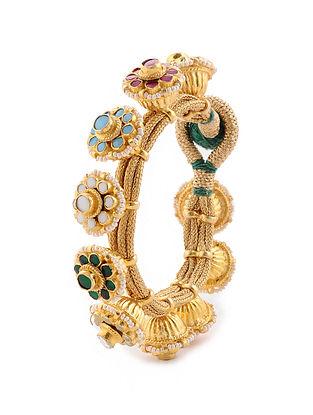 Multicolored Gold Tone Navrattan Pacheli Bracelet