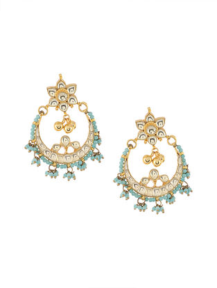 Turquoise Gold Tone Kundan Inspired Chaandbali Earrings