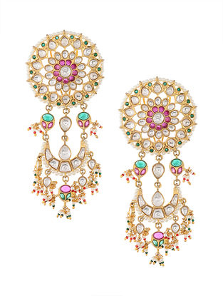 Multicolored Gold Tone Kundan Inspired Chaandbali Earrings