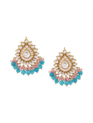 Pink-Turquoise Kundan Inspired Stud Earrings