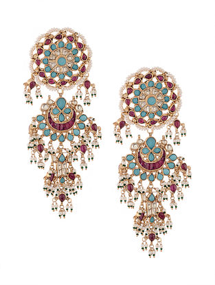 Pink-Turquoise Gold Tone Kundan Inspired Chaandbali Earrings