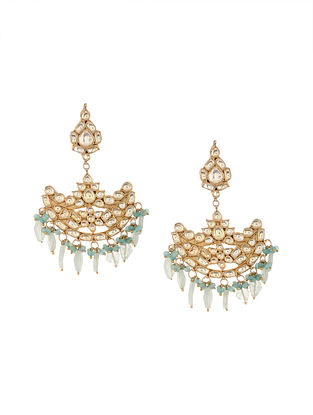 Aqua Gold Tone Kundan Inspired Chaandbali Earrings