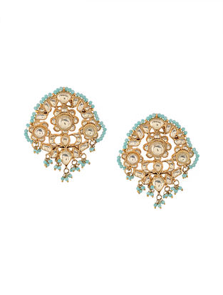 Turquoise Gold Tone Kundan Inspired Earrings