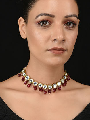 Red Gold Tone Kundan Necklace