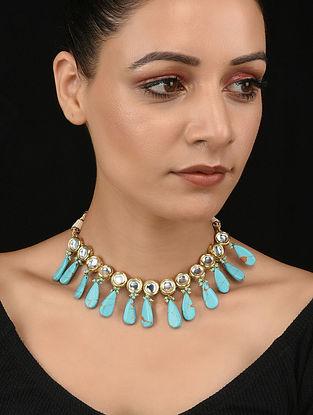Turquoise Gold Tone Kundan Necklace