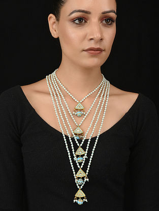 Blue Gold Tone Kundan and Meenakari Necklace with Pearls