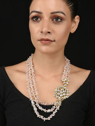 Pink Gold Tone Kundan Necklace with Pearls