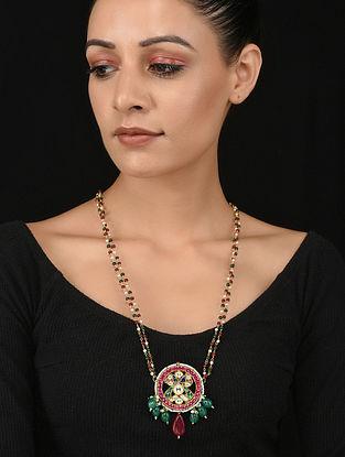 Multicolored Gold Tone Polki Necklace