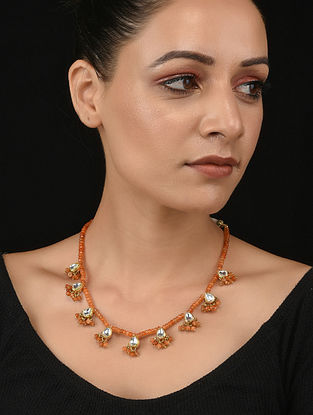Orange Gold Tone Kundan Necklace