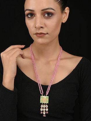 Pink Green Gold Tone Kundan and Meenakari Necklace