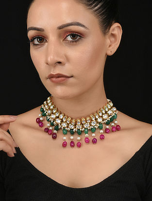 Green Red Gold Tone Kundan Necklace with Pearls