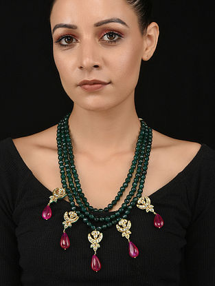Red Green Gold Tone Kundan Necklace