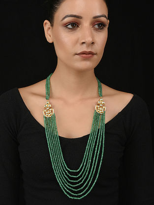 Green Gold Tone Polki Necklace