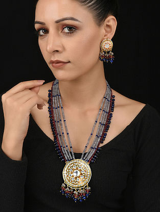 Red Blue Gold Tone Kundan Necklace with Earrings (Set of 2)