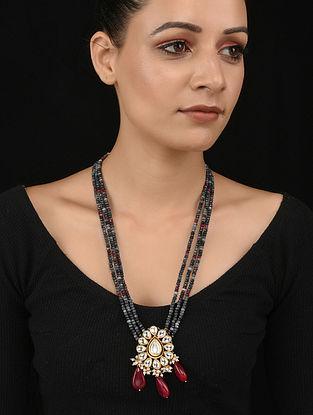 Red Grey Gold Tone Kundan Necklace